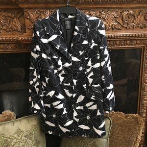 Black and white long coat cotton and spandex
